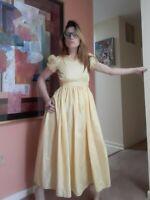 1920's Yellow Taffeta Art Deco Gown w/ Ruffles (XXS/XS)