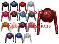 Ladies Womens Floral Lace Long Sleeve Open Bolero Shrug Cardigan Plus Size 8-22