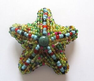 Pin/Brooch- STARFISH seed beads- yellow blue green black orange