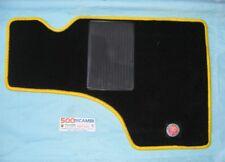 FIAT 500 F/L/R COPRITAPPETO TAPPETINI 4 PZ COMPLETO MOQUETTE NERI GIALLI + LOGO