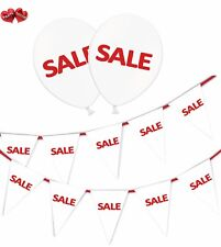 SALE Bundle of White Bunting Banner and 15 Printed White Latex Balloons