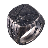 Men's Cracking Pattern Punk Rings Domineering Bark Crack Ring Silver Jewelry ON