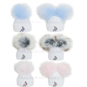 BABY KNITTED HATS GIRLS BOYS POMPOM PETER RABBITS FUR BUBBLE HAT