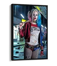 HARLEY QUINN FLOAT EFFECT CANVAS WALL ART PICTURE PAPER PRINT- RED BLUE