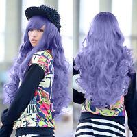 Women Long Silver Purple Wavy Curly Cosplay Lolita Harajuku Anime Hair Full Wigs
