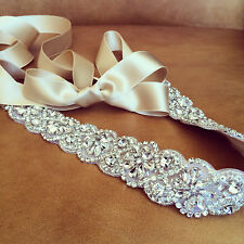 Vintage Wedding Bridal Sash Belt Crystal Rhinestone Wedding Dress Ribbon  Belt