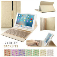 "7 Colors Backlit Wireless Keyboard PU Leather Stand Smart Case For iPad 9.7"" 5/6"