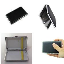 Black Pocket Leather Metal Tobacco 14 Cigarette Smoke Holder Storage Case FR