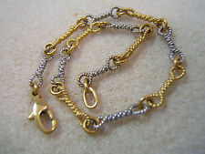 "18k White and Yellow Gold Twisted Rope Link Bracelet  7.75""    7.7g  VGUC"