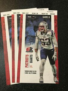 New England Patriots Season Ticket Stubs 2017 2018 2019 NM-Mint Unused PreSeason