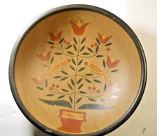 "Penn Dutch Hand Painted Hex 14.5"" Wooden Bowl Tulip Cherry Tree Distelfink Bird"