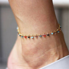 Lady Charm Gold Plated Anklet Ankle Bracelet Chain Colorful Crystal Jewelry Gift