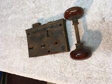VINTAGE SKELETON LOCK AND  CERAMIC BROWN DOOR KNOB SET