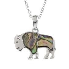 Bison Necklace Paua Abalone Shell Pendant Silver Fashion Jewellery