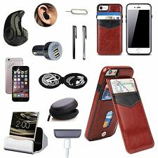 Coffee Brown Leather Case Cover Wireless Earphones Accessory Bundle For iPhone 7