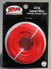 ATLAS HO & O GAUGE TRACK LAYOUT WIRE 20 GAUGE STRANDED 50 FT RED train n g 316