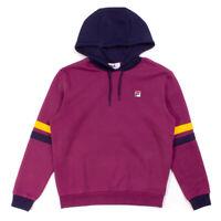 FILA Mens Cotton Overhead Hurley Hooded Sweatshirt Top Prune Hoodie