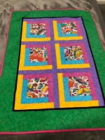 """Handmade Patchwork Quilt Crib/Lap 33""""by 44"""" Bright Multi Colors Butterflies"""