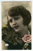 c 1930 French Deco Pretty YOUNG LADY Beauty Glamour photo postcard