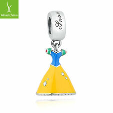 European 925 Sterling Snow White's Dress DANGLE Charms Beads Fit Christmas Gifts