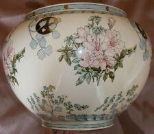"""Grand cache-pot en faïence Art Nouveau """" fleurs polychrome """" - Signé & daté 1893"""