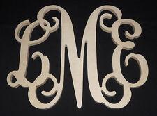 "12"" Monogram Personalized Letters Unpainted Wooden Wall Door Wedding Decor"
