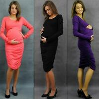 Maternity Pregnancy Elegant Dress Cotton Long Sleeves size UK  8 10 12 14