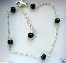 """Black Cultured Pearl & Sterling Silver 8""""-10"""" Tin Cup Anklet"""