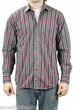 STEVEN ALAN Multi Plaid Reverse Seam Inside Pocket Long Sleeve Shirt NEW $188