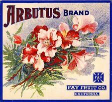 Los Angeles Arbutus Flowers Fay Fruit Orange Citrus Fruit Crate Label Art Print