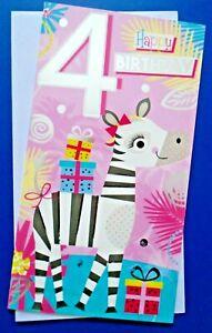 HAPPY BIRTHDAY 4 - BRIGHT COLOURFUL BIRTHDAY CARD FOR 4 YEAR OLD