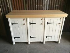 Rustic Wooden Solid Pine Freestanding Kitchen Triple Cupboard Unit In Any Colour