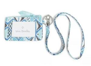 NWT New Vera Bradley * Go Fish Blue print Zip ID Case and Lanyard