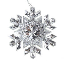 Hanging Acrylic Crystal Faceted Snowflake Christmas Tree Ornaments, Clear/Silver