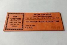 Vintage Television-Radio Review Time Show Ticket, Avon Theatre