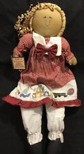 Quilted Treasures 22in. Raffia Hair Doll With Red Checkered Dress New