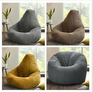 Jumbo Cord Beanbag Chair Large Bean Bag in Plush Jumbo Cord beanbags High back
