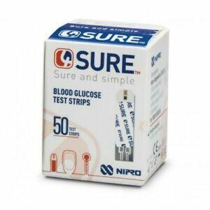 4Sure Blood Glucose Diabetic Testing Test Strips - Nipro - Box of 50