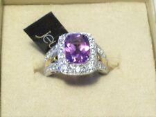 Beautiful New 925 Silver With Amethyst Center & White Topaz Side Stones Size. 7