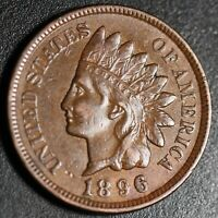 1896 INDIAN HEAD CENT -With LIBERTY & DIAMONDS - Near AU UNC