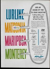 MATSON LINE 1959 4 GREAT SHIPS LURLINE-MATSONIA-MARIPOSA-MONTEREY 75 SAILINGS AD