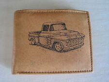 Mens Mankind Leather RFID Wallet w/ 1955 56 57 CHEVY TRUCK Image & Message(Gift)