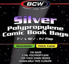 100 NEW Silver Resealable THICK Comic Bags and Boards BCW Archival Book Storage