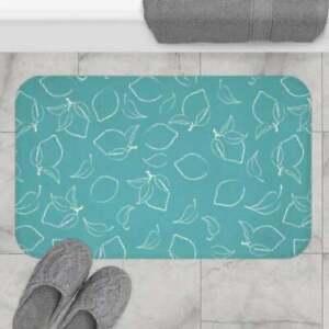 Blue Lemonade Pattern Bath Mat, Non-slip Modern Bath Rugs, Indoor Rug