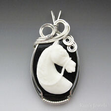 Horse Carved Bone (Bovine) Cameo Sterling Silver Wire Wrapped Pendant
