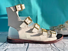 TOPSHOP  sz 8 white Leather ankle strappy holiday sandals MSRP $89