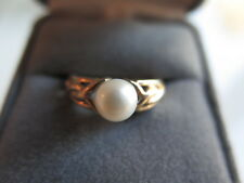 14K Solid Yellow Gold Pearl Ring Size 6.75 (#233)