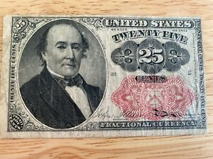 1874 USA 25 Cents Fractional Currency 5th Issue Walker FR1309 Circulated Note