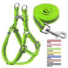 Dog Nylon Reflective Harness Leash Lead Set Pet Training Large Walking 7 Colors