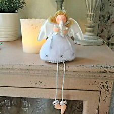 White Snowy Sitting Angel Fairy Decoration Shelf Sitter Glitter Star Fluffy
